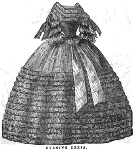 Fashion plate, showing an evening dress, 1860. Source: Wikimedia Commons.