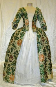 Mantua of silk brocade and other fabrics, 1734. Source: V&A