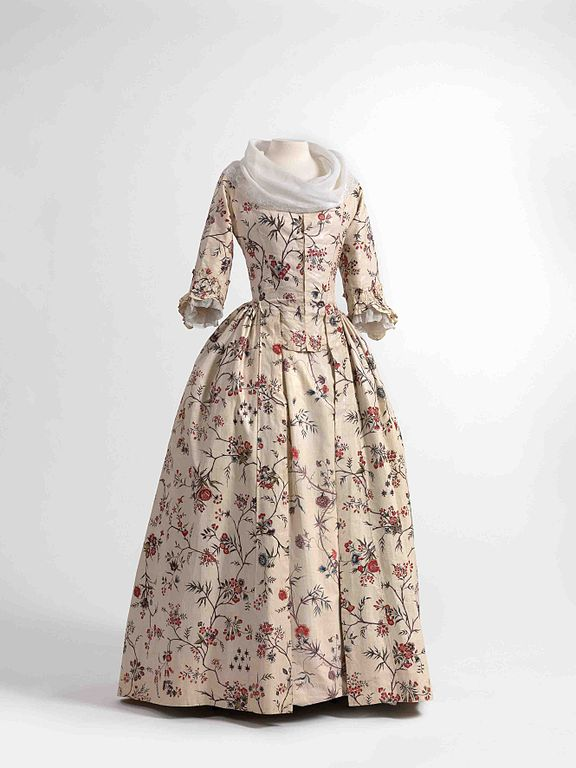 18th century robe a l'anglaise, made of chintz. Source: Wikimedia Commons.