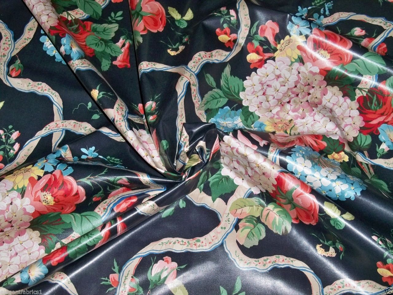 Chintz fabric, showing the reflective surface. Source: thesilktoilefabricgenie.com