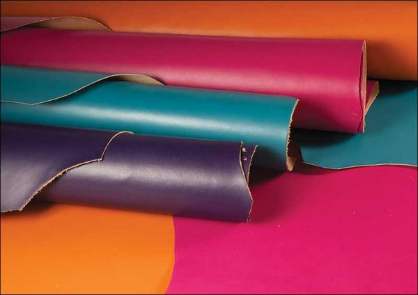 Colored cow leather. Source: tandyleather.com