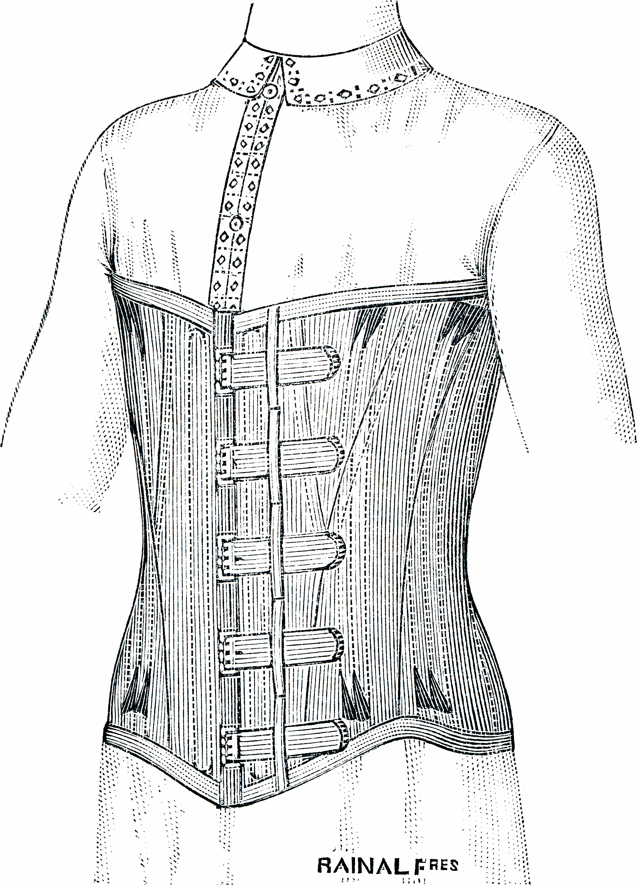 A corset for gentlemen. Date unknown, but guessing early or mid 19th century. Source: Wikimedia Commons.