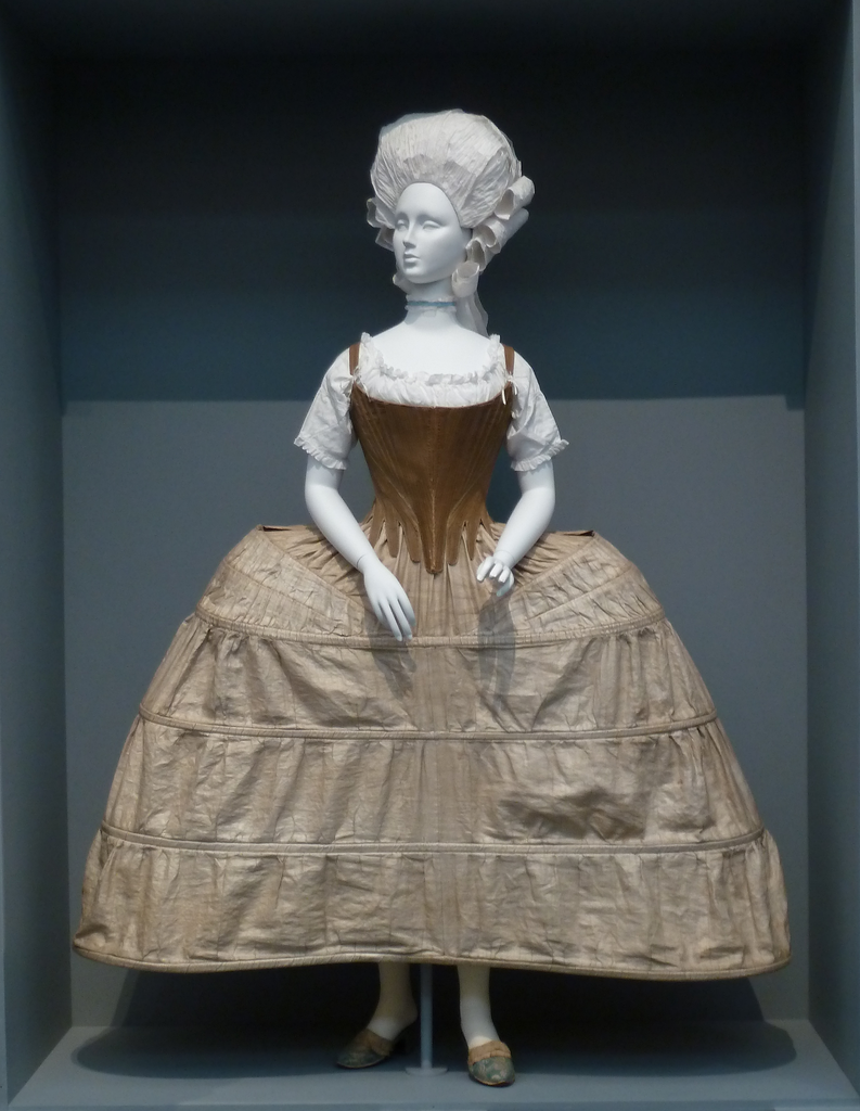 Corset and panniers of linen twill and baleen. Circa 1785. Source: LA County Museum of Art, via Wikimedia.