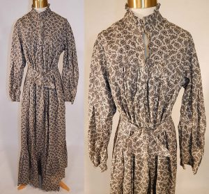 Printed cotton calico day dress, circa 1890. Source: 1860-1960.com