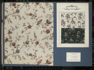 Cretonne in a textile mill's sample book, dated 1872. Source: V&A Museum.