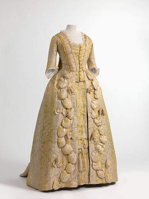 Robe a la francaise in silk damask. Source: Momu Fashion Museum of Antwerp, via Wikimedia Commons.