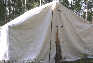 A tent made from duck canvas - 10oz weight. Source: backcountrychronicles.com
