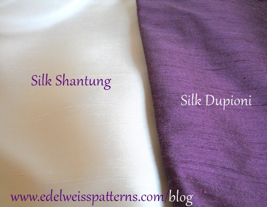 A comparison of dupioni and shantung fabrics. Source: edelweisspatterns.com