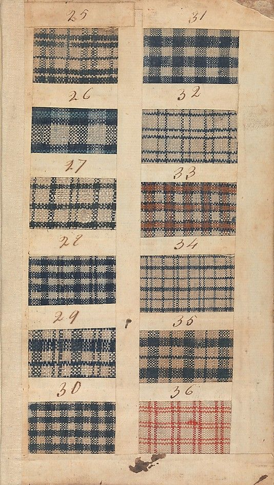 An 18th century textile mill's swatchbook, featuring samples of fustian fabric. Source: Metropolitan Museum of Art.
