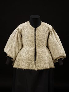 Fustian coat, embroidered with linen thread, ca 1630. Source: V&A