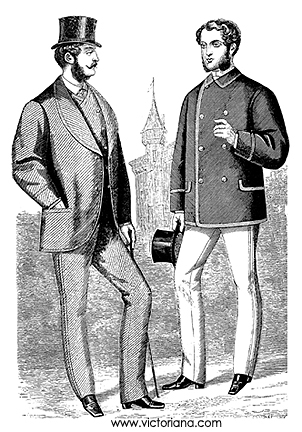Two fashionable gents from the 1860s. Source: Victoriana.com