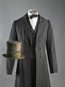 Wool broadcloth suit and coat as worn by Abraham Lincoln at his inauguration.