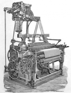 Calico loom of the 19th century. Source: Wikimedia Commons.