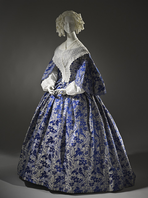 Satin dress from 1855. Source: Wikimedia Commons