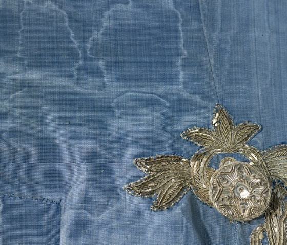 Detail of the 1760 moire suit, above.