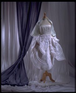 Dress featuring a skirt of bias-cut organdy, by John Galliano, 1988. Source: V&A