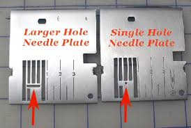 Comparison showing the difference between a regular plate and a straight-stitch plate for a sewing machine.